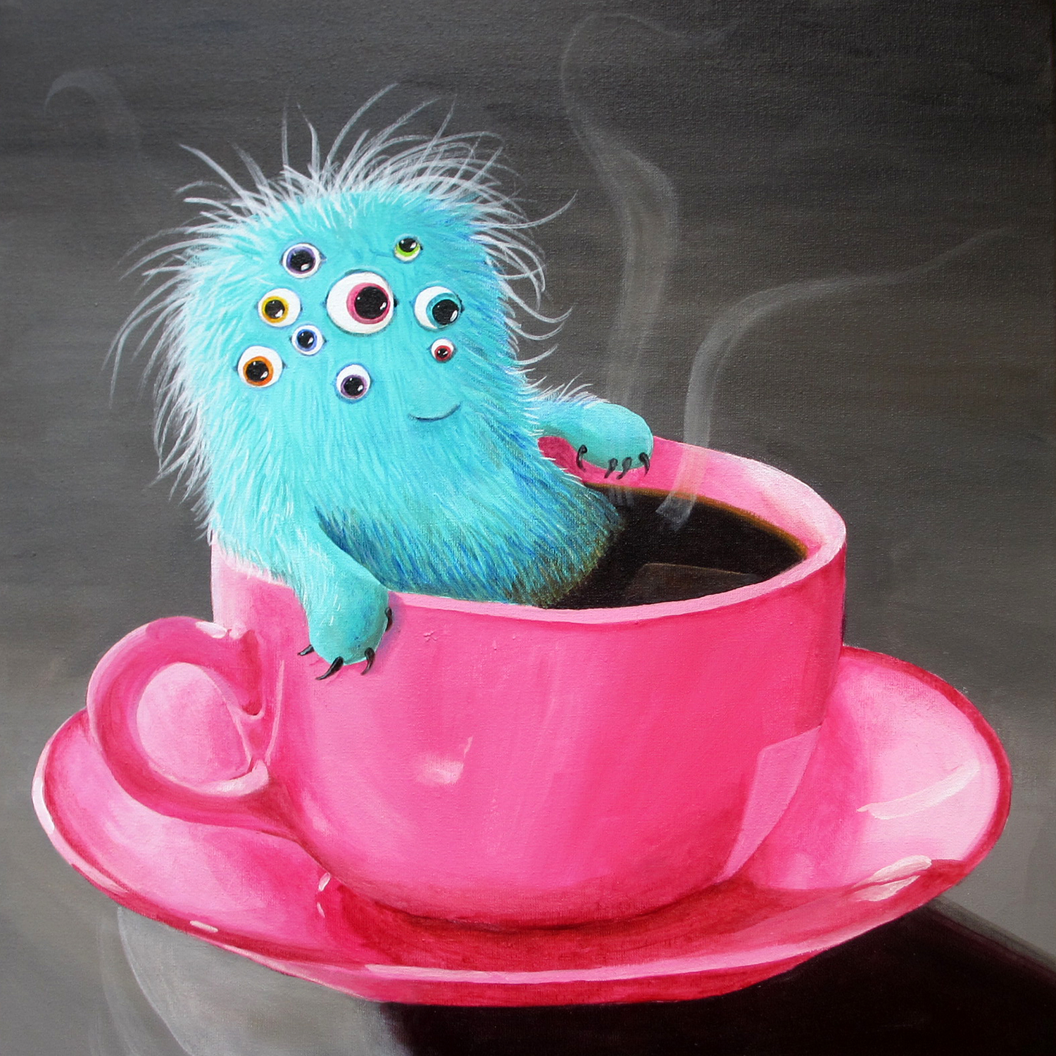 7 7 monster in a coffee cup painting magical daydream