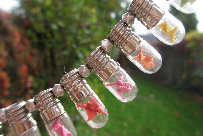 Mini origami cranes in mini light bulb necklace - Magical Daydream - photo#13