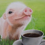 Pig with coffee painting