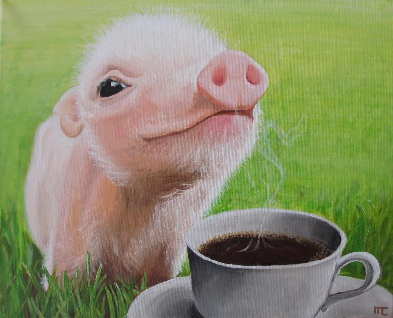 pig with coffee painting magical daydream