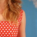 Home-made orange polka dot dress