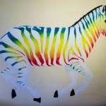 Rainbow zebra unicorn wall painting