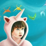 The unicorn girl and the flying paper cranes painting