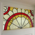 My dad teaches me how to make a stained glass window