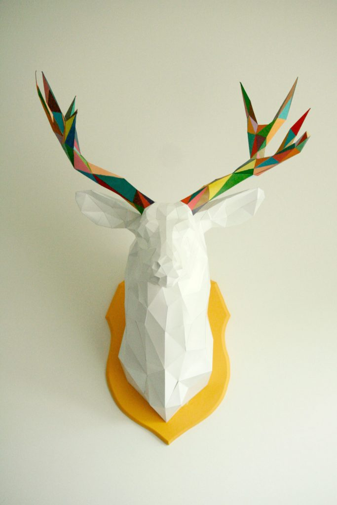 3D paper deer head front view