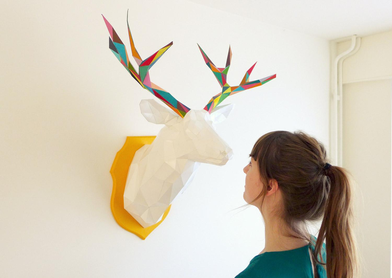 3D paper deer head