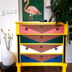 Dresser makeover: colourful triangles, wood and yellow