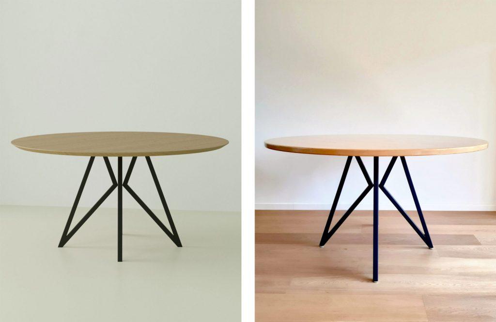 geometric dining table legs DIY